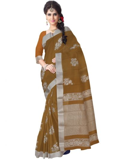 Chammeli Fancy Silk Cotton Brown Saree