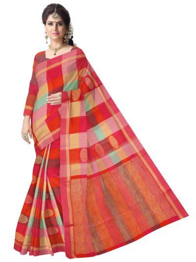 Chamelli Fancy Silk Cotton Multi Color Saree