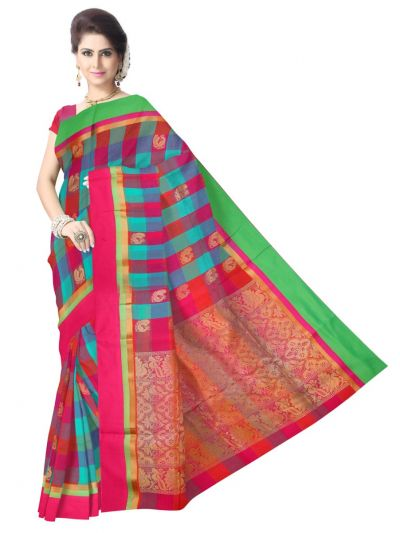 Chamelli Fancy Silk Cotton Multi Color Saree