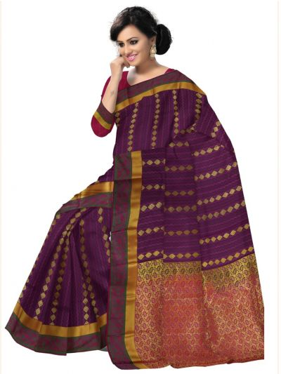 Art Maroon Silk Saree