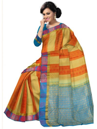 Multi Color Traditional Silk Saree - MAD3555863