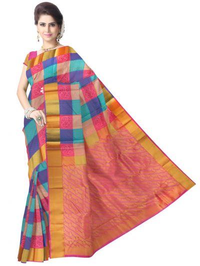 Multi Color Traditional Silk Saree - MAD3555872