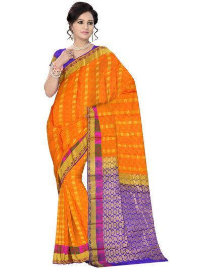Vipanji Traditional Orange Color Silk Saree