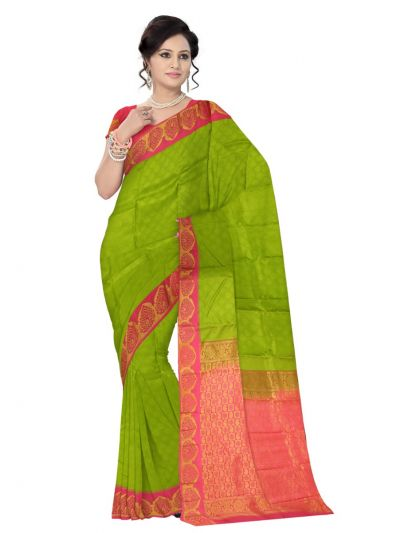 Vipanji Traditional Green Silk Saree