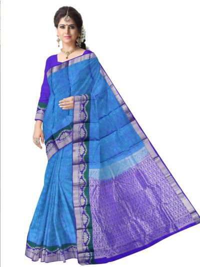 Bairavi Traditional Blue Silk Saree