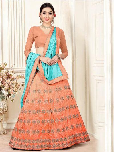 8bfe010c51 Women's Tissue Net Embroidered Lehenga Choli ...