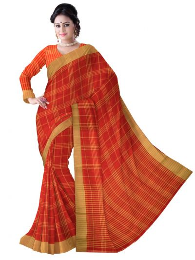 Chammeli Linen Cotton  Orange Saree