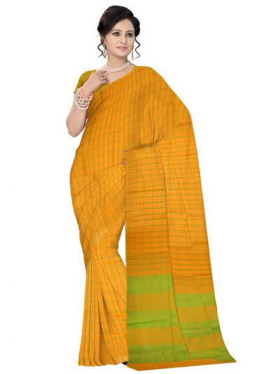 Chammeli Linen Cotton Yellow Saree