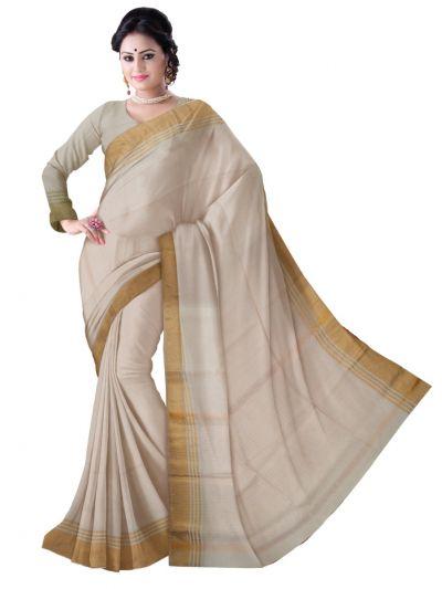 Chammeli Linen Cotton Off White Saree