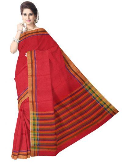 Chammeli Linen Cotton Red Saree