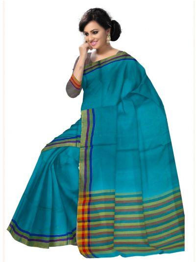 Chammeli Linen Cotton Blue Saree