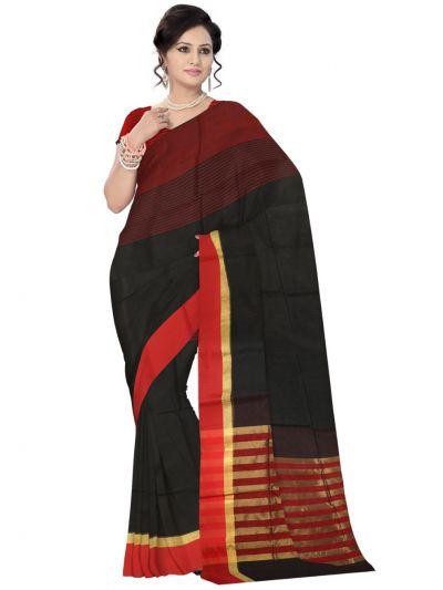 Chammeli Linen Cotton Black Saree
