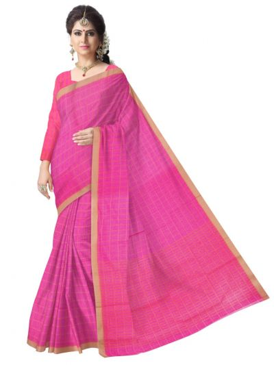 Chammeli Linen Cotton Pink Saree