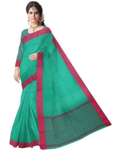 Chammeli Linen Cotton Green Saree