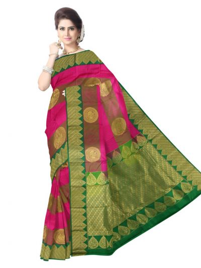 Vipanji Traditional Pink Silk Saree