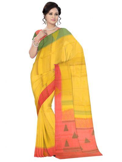 Vipanji Traditional Yellow Silk Saree