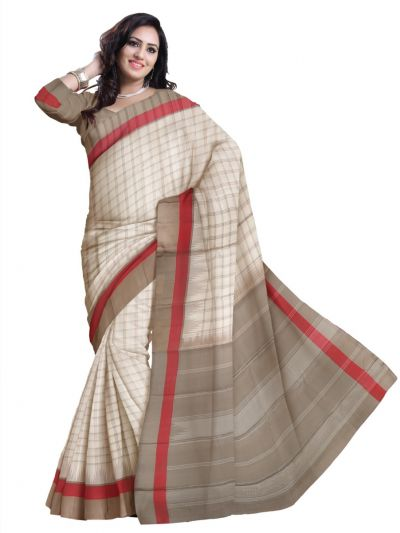 Vipanji Traditional Off White Silk Saree