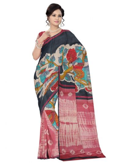 Sahithyam Exclusive Printed Jute Silk Saree