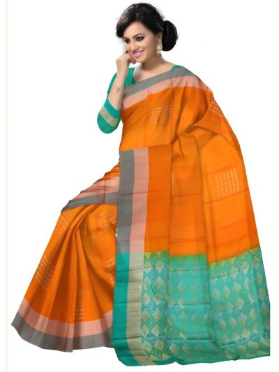 Vipanji Traditional Orange Soft Silk Saree