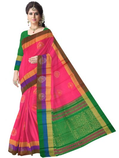 Vipanji Traditional Pink Soft Silk Saree