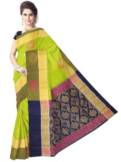 Vipanji Traditional Green Soft Silk Saree