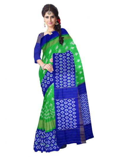 Pochampalli Ikat Soft Silk Green Saree