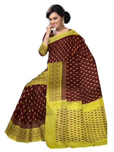 Pochampalli Ikat Soft Silk Brown Saree