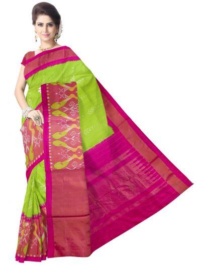 Pochampalli Ikat Soft Silk Green Saree
