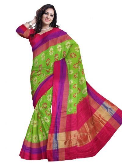 MBC6851189 - Pochampalli Ikat Soft Silk Green Saree