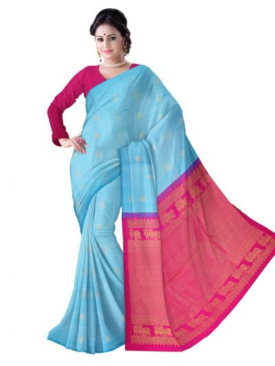 Vipanji Traditional Plain Border Silk Saree