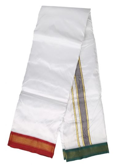 MBC6860873 - Vivaha Mayil Kan Handloom Silk Dhoti With Towel