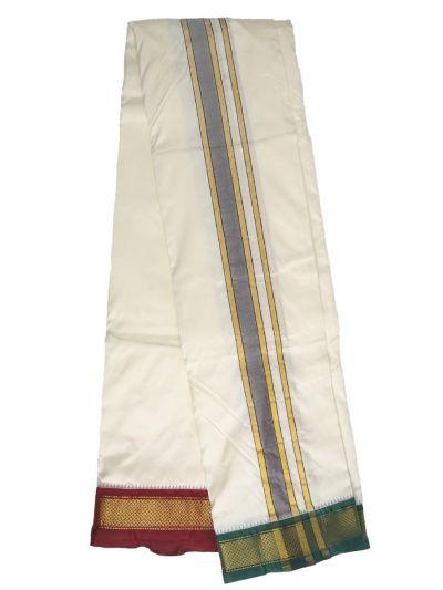 MCA8111183 - Vivaha Mayil Kan Handloom Silk Dhoti With Towel