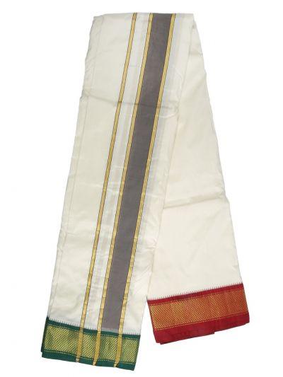 MCA8111184 - Vivaha Mayil Kan Handloom Silk Dhoti With Towel
