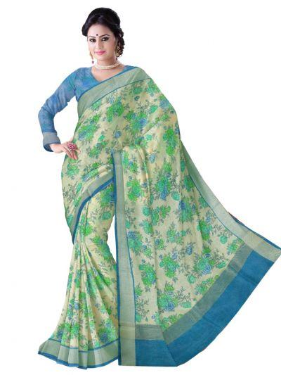 Sahithyam Exclusive Printed Linen Cotton Saree