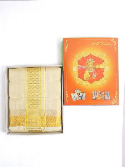 MCC9339829-Vivaha Embossed Pure Silk Dhoti