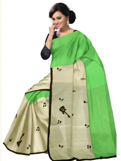 Chamelli Exclusive Cut Paste Design Chanderi Cotton Saree