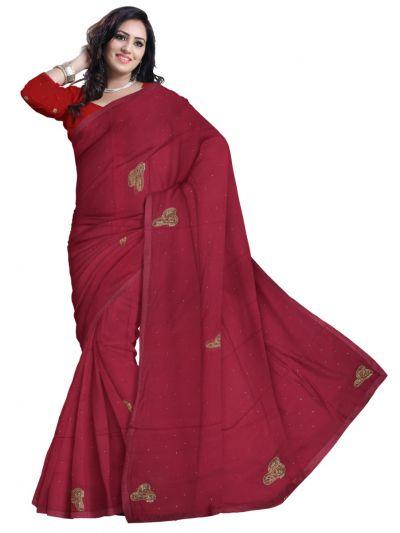 MCD0577826-Kyathi Embroider Chanderi Cotton Saree