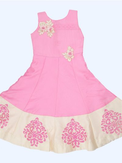 Imported Satin Girls Long Frock - MEB6651557