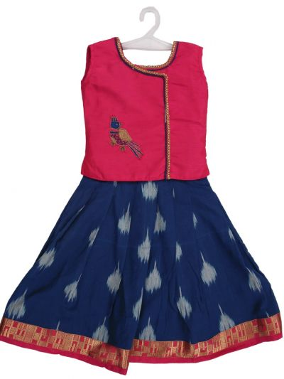 Girls Ready Made Art Silk Pavadai Set - MED9224361