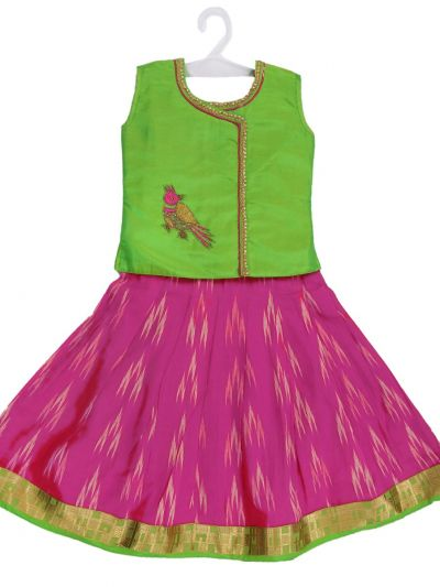 Girls Ready Made Art Silk Pavadai Set - MED9224382