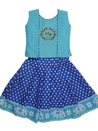 Girls Ready Made Art Silk Pavadai Set - MED9224401