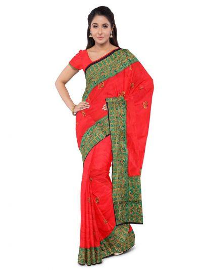Kathana Exclusive Designer Embroidery Raw Silk Saree - MFB1095582