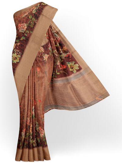 Kathana Exclusive Printed Linen Saree - MIA3009829