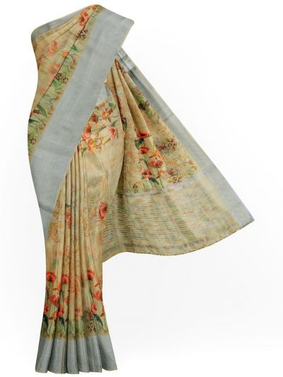 Kathana Exclusive Printed Linen Saree - MIA3009833