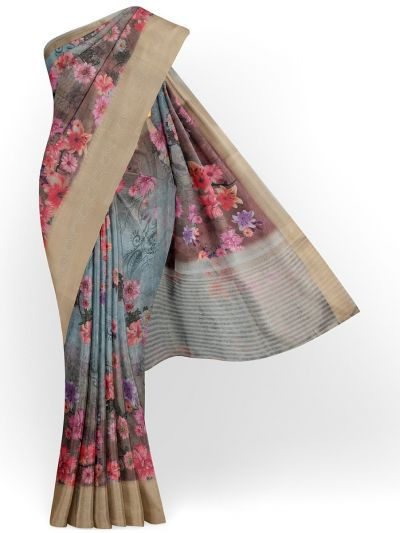 Kathana Exclusive Printed Linen Saree - MIA3009848
