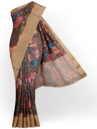 Kathana Exclusive Printed Linen Saree - MIA3009849