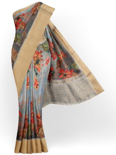Kathana Exclusive Printed Linen Saree - MIA3009856