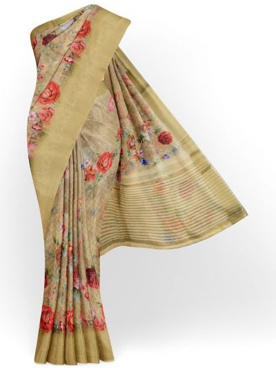 Kathana Exclusive Printed Linen Saree - MIA3009863