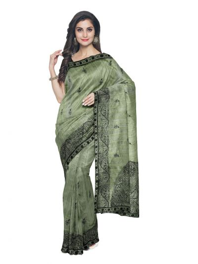 ONL-MCC9538318-Kathana Exclusive Designer Embroidery Raw Silk Saree