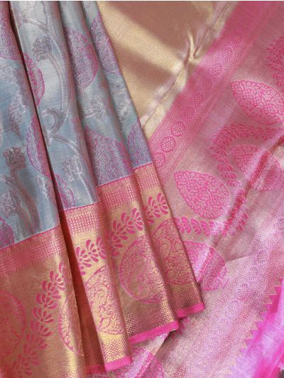 Vivaha Goddess Grey Pure Kanchipuram Silk Saree